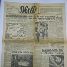 Coleccionismo de Revistas y Periódicos: PERIODICO SIGNO: SEMANARIO NACIONAL JUVENTUD DE ACCION CATOLICA.MADRID 28 FEBRERO 1942.8PP.44X58 CMS. Lote 35013991