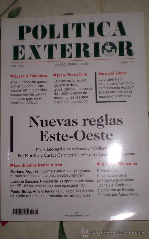 POLÍTICA EXTERIOR;Nº 139;ENERO-FEBRERO 2011;¡NUEVA! (Coleccionismo - Revistas y Periódicos Modernos (a partir de 1.940) - Otros)
