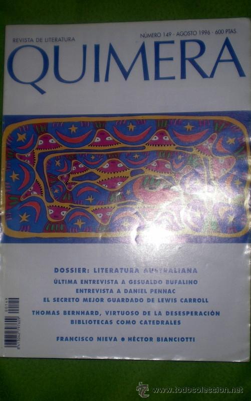 QUIMERA-REVISTA DE LITERATURA-;Nº149;AGOSTO 1996 (Coleccionismo - Revistas y Periódicos Modernos (a partir de 1.940) - Otros)