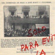 Coleccionismo de Revistas y Periódicos: REUS 1929 HOMENAJE MARTI FOLGUERA RETAL HOJA REVISTA. Lote 35721388