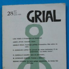 Coleccionismo de Revistas y Periódicos: GRIAL. Nº 28. ABRIL, MAIO, XUNIO 1970.VIGO.. Lote 35852303
