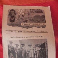 Coleccionismo de Revistas y Periódicos: ANTIGUA REVISTA -SOL Y SOMBRA- AÑO 1898. Nº69 SEMANARIO TAURINO ILUSTRADO. (FG00076). Lote 35893374