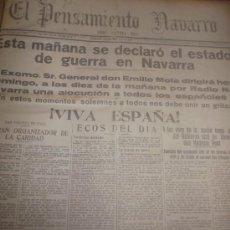 Coleccionismo de Revistas y Periódicos: GUERRA CIVIL. NAVARRA. PERIODICO EL PENSAMIENTO NAVARRO, 32 NUMS. ENTRE 19 ABRIL-30 AGOSTO DE 1936. Lote 36250985