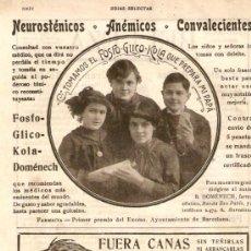 Coleccionismo de Revistas y Periódicos: RECORTE PUBLICIDAD AÑOS 1910-1920.FOSFO-GLICO-KOLA DOMENECH.ANTONIO BARCELO MALAGA.. Lote 36429622