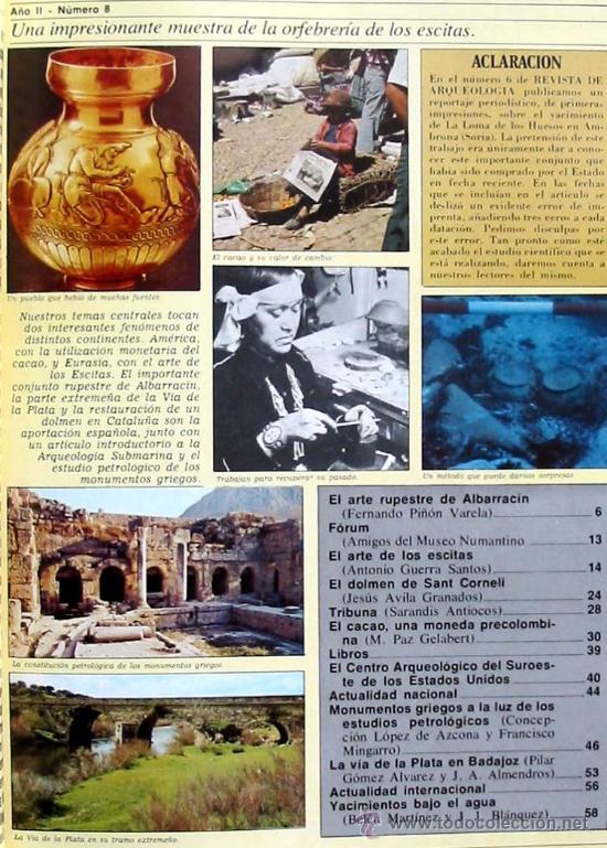 Coleccionismo de Revistas y Periódicos: REVISTA DE ARQUEOLOGÍA Nº 8 / DICIEMBRE 1981 - ZUGARTO EDICIONES - VER ÍNDICE - Foto 2 - 36656057