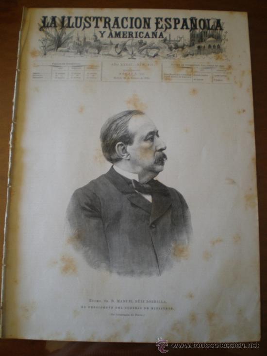 ILUSTRACION ESPAÑOLA/AMERICANA (22/02/95) RUIZ ZORRILLA MENDEZ BRINGA CHANTRON (Coleccionismo - Revistas y Periódicos Antiguos (hasta 1.939))