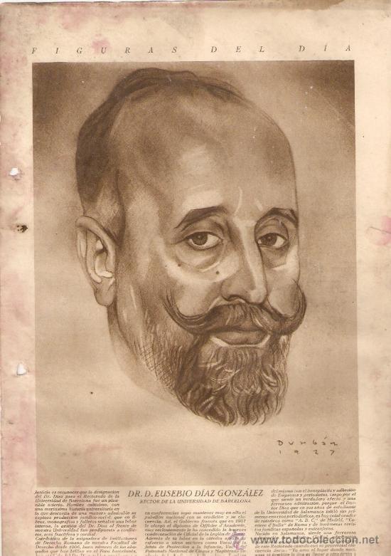 RECORTE PRENSA AÑO 1929 EUSEBIO DIAZ GONZALEZ RECTOR UNIVERSIDAD BARCELONA RETRATO DIBUJO DURBAN (Coleccionismo - Revistas y Periódicos Modernos (a partir de 1.940) - Otros)