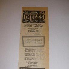 Coleccionismo de Revistas y Periódicos: ANUNCIO PUBLICIDAD INSTITUTO AMERICANO (AÑO 1959). Lote 36851191