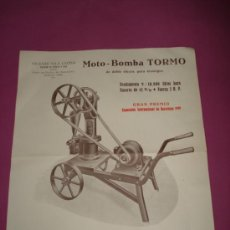 Collectionnisme de Revues et Journaux: FOLLETO PUBLICIDAD DE MOTO BOMBA TORMO DE VICENTE VILA CLOSA DE BARCELONA AÑO 1920S. Lote 37056559