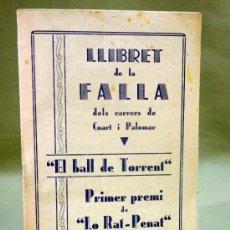 Coleccionismo de Revistas y Periódicos: LLIBRET DE FALLAS, CUART Y PALOMAR, 1934, PRIMER PREMI. LO RAT PENAT. Lote 37090607