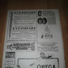 Coleccionismo de Revistas y Periódicos: PUBLICIDAD RELOJ OMEGA /LAPICERO EVERSHARP/RELOJES FIX HOJA DE REVISTA NUEVO MUNDO 1921. Lote 37156018
