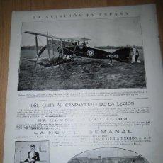Coleccionismo de Revistas y Periódicos: BIPLANO BRISTOL CON MOTOR HISPANO-SUIZO/HENO DE PRAVIA HOJA DE REVISTA NUEVO MUNDO 1921. Lote 37156182