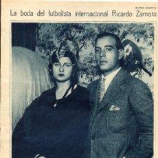 Coleccionismo de Revistas y Periódicos: AÑO 1930 BODA RICARDO ZAMORA CARMEN GRASSA FUTBOL CLUB BARCELONA. Lote 37468319