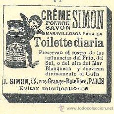 Coleccionismo de Revistas y Periódicos: PUBLICIDAD CREME SIMON -1901. Lote 37736375