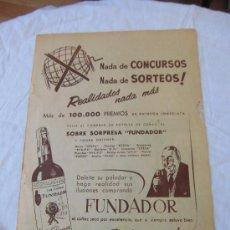 Coleccionismo de Revistas y Periódicos: PUBLICIDAD COÑAC FUNDADOR HOJA DE REVISTA A B C 1956. Lote 37897258