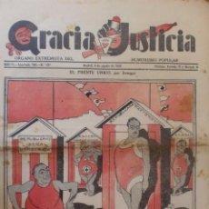 Coleccionismo de Revistas y Periódicos: REVISTA GRACIA Y JUSTICIA. ORGANO EXTREMISTA DEL HUMORISMO POLULAR. AÑO IV Nº 137 MADRID AGOSTO 1934. Lote 38007105