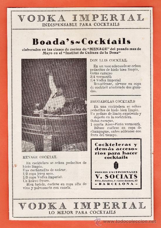 ANUNCIO ORIGINAL DE EPOCA - VODKA IMPERIAL - BOADA'S COCKTAILS - BARCELONA - AÑO 1932 (Coleccionismo - Revistas y Periódicos Modernos (a partir de 1.940) - Otros)