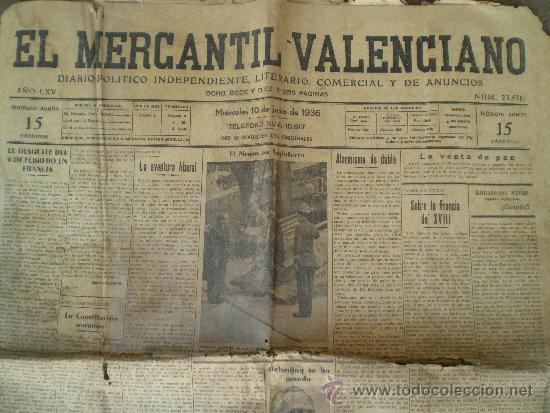 10 de junio de 1935 valencia diario el mercant comprar revistas y peri dicos antiguos en - Periodico levante el mercantil valenciano ...