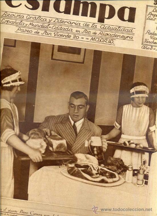 REVISTA ESTAMPA 22 NOVIEMBRE 1930 PRIMO CARNERA (Coleccionismo - Revistas y Periódicos Antiguos (hasta 1.939))