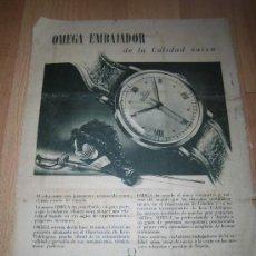 Coleccionismo de Revistas y Periódicos: PUBLICIDAD RELOJ OMEGA HOJA DE REVISTA ABC 1949. Lote 38461968