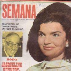 Coleccionismo de Revistas y Periódicos: SEMANA Nº 1497, AÑO 1968, JACQUELINE BODA ONASSIS, LAURA VALENZUELA, ANA BELEN,. Lote 38479326