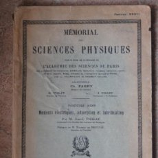 Coleccionismo de Revistas y Periódicos: MEMORIAL SCIENCES PHYSIQUES. FASC. XXXVI. MOMENTS ELECTRIQUES ADSORPTION ET LUBRIFICATION.PARIS 1938. Lote 39000177