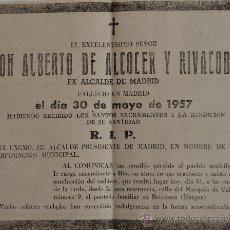 Coleccionismo de Revistas y Periódicos: ESQUELA ORIGINAL DE PERIODICO DON ALBERTO DE ALCOCER Y RIVACOBA, EX ALCALDE DE MADRID, 1957 . Lote 38823238