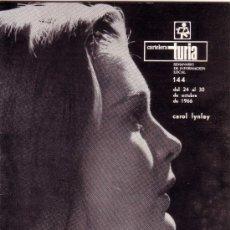 Coleccionismo de Revistas y Periódicos: CARTELERA TURIA Nº 144 AÑO 1966 - CAROL LYNLEY. Lote 39080873