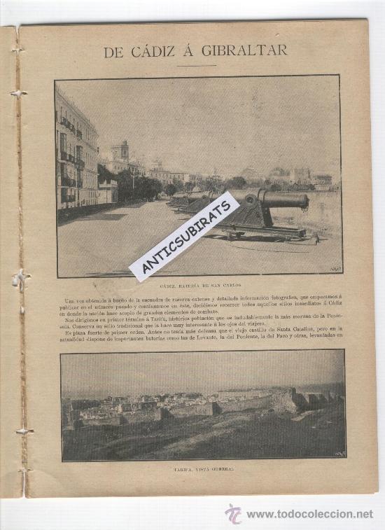 REVISTA AÑO 1898 FOTOS DE TARIFA PUERTO CASTILLO ALGECIRAS LA LINEA PASO FRONTERIZO GIBRALTAR CADIZ (Coleccionismo - Revistas y Periódicos Antiguos (hasta 1.939))