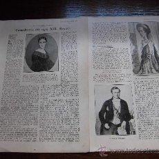 Coleccionismo de Revistas y Periódicos: COMEDIANTAS DEL SIGLO XIX LA ACTRIZ RAQUEL 2 HOJAS DE REVISTA BLANCO Y NEGRO 1930. Lote 39125764