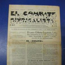 Coleccionismo de Revistas y Periódicos: LE COMBAT SINDICALISTE/EL COMBATE SINDICALISTA. CNT-AIT Nº 1012. 4 JANVIER 1979. . Lote 39189284