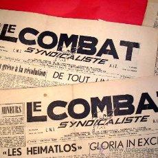 Coleccionismo de Revistas y Periódicos: LE COMBAT SINDICALISTE - EXILIO - CNT-AIT- 3 DIARIOS Nº 245 -247- 277 - AÑO 1963. Lote 39199096