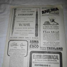 Coleccionismo de Revistas y Periódicos: PLUMA Y BOLIGRAFO EVERSHARP/FLAN IDEAL HOJA DE REVISTA NUEVO MUNDO 1921. Lote 39719740
