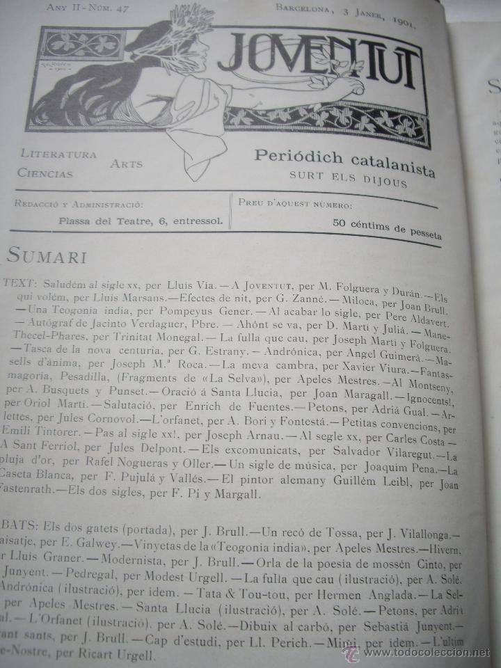 Coleccionismo de Revistas y Periódicos: Periódich Catalanista JOVENTUT Any 1901 Núm.47 al 98 Revista Setmanari Literatura, Ciencias i Arts - Foto 5 - 39824273