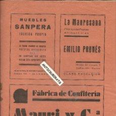 Coleccionismo de Revistas y Periódicos: BOLETIN DE MANRESA AÑO 1930 CONFITERIA MAURI Y COMPAÑIA BARCELONA CARAMELOS DARLINGS . Lote 39990197