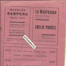Coleccionismo de Revistas y Periódicos: BOLETIN AÑO 1930 MUEBLES SANPERA MANRESA LA MANRESANA AGUA IMPERIAL CALDAS DE MALVELLA CALDES . Lote 39990270