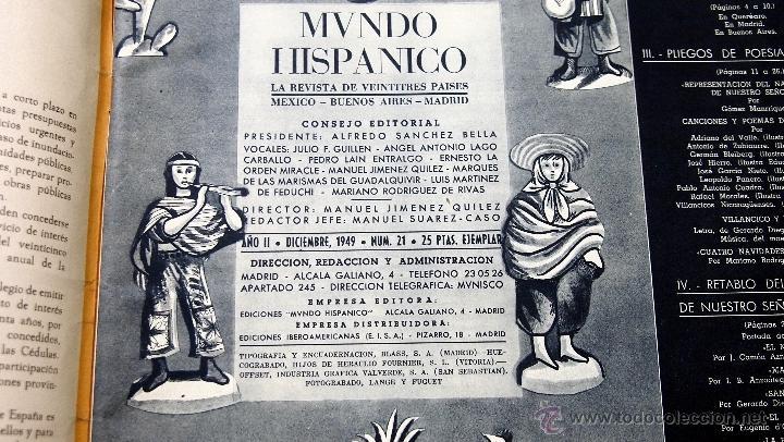 Coleccionismo de Revistas y Periódicos: REVISTA MUNDO HISPANICO NAVIDAD DICIEMBRE 1949 - Foto 2 - 40186836