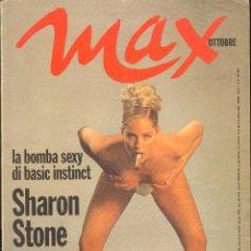 Coleccionismo de Revistas y Periódicos: REVISTA ITALIANA MAX 1992 - SHARON STONE. Lote 40261396