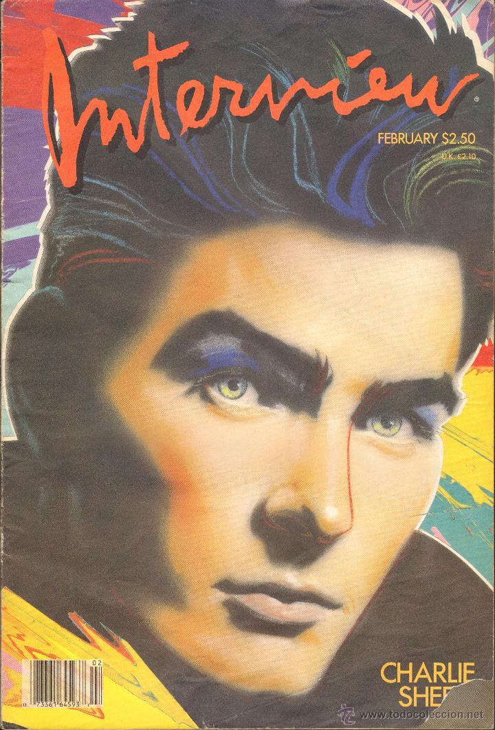 REVISTA INTERVIEW - FEBRERO 1987. USA / CHARLIE SHEEN (Coleccionismo - Revistas y Periódicos Modernos (a partir de 1.940) - Otros)