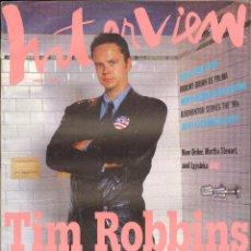 Coleccionismo de Revistas y Periódicos: REVISTA INTERVIEW - AGOSTO 1992. USA / TIM ROBBINS. Lote 40272678