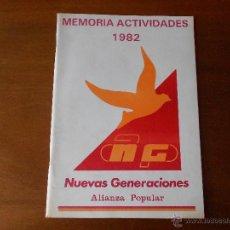 Coleccionismo de Revistas y Periódicos: ALIANZA POPULAR, NUEVAS GENERACIONES MEMORIA DE ACTIVIDADES 1982 HISTÓRICO DOCUMENTO CON FOTOS. Lote 40377844