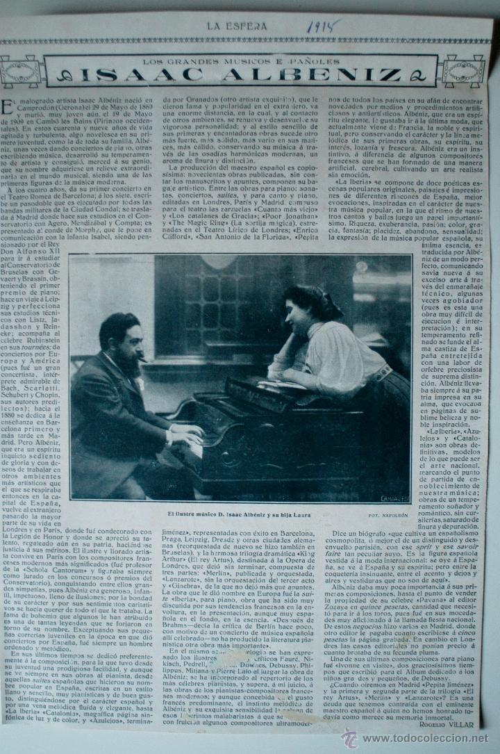 """ARTÍCULO DE PRENSA ORIGINAL DE 1915 """"LOS GRANDES MÚSICOS ESPAÑOLES: ISAAC ALBENIZ"""" (Coleccionismo - Revistas y Periódicos Antiguos (hasta 1.939))"""