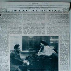"""Coleccionismo de Revistas y Periódicos: ARTÍCULO DE PRENSA ORIGINAL DE 1915 """"LOS GRANDES MÚSICOS ESPAÑOLES: ISAAC ALBENIZ"""". Lote 40676121"""