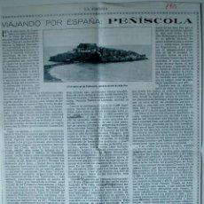 """Coleccionismo de Revistas y Periódicos: ARTICULO DE PRENSA ORIGINAL DE 1915 """"VIAJANDO POR ESPAÑA: PEÑÍSCOLA. Lote 40676210"""