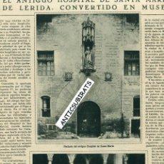 Coleccionismo de Revistas y Periódicos: REVISTA AÑO 1933 HOSPITAL DE SANTA MARIA DE LLEIDA MUSEO SALVADOR CASTELLO CARRERAS DE ARENYS DE MAR. Lote 40708247