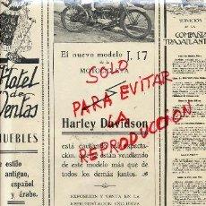 Coleccionismo de Revistas y Periódicos: HARLEY-DAVIDSON 1917 MOTOCICLETAS MADRID HOJA REVISTA. Lote 40770896