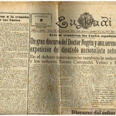 Coleccionismo de Revistas y Periódicos: PERIÓDICO EUSKADI - 2 DE FEBRERO DE 1938 - EUSKERA Y CASTELLANO. Lote 40817214