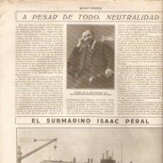 Coleccionismo de Revistas y Periódicos: AÑO 1917 RECORTE PRENSA REPARACION SUBMARINO ISAAC PERAL PUERTO DE LA LUZ. Lote 40919934