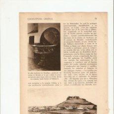 Coleccionismo de Revistas y Periódicos: AÑOS 30 RECORTE PRENSA CASTILLO MONTIEL FUENLLANA CASTILLO DE ALHAMBRA LA MANCHA. Lote 40948624