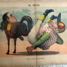 Coleccionismo de Revistas y Periódicos: EL MOTIN, Nº 21 , 1889 , SIGLO XIX , CARTEL LITOGRAFIA , POR NO PERDER LA COSTUMBRE , ORIGINAL . Lote 41027330